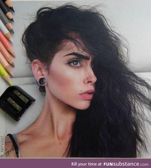 Hyper realistic colored pencil portrait