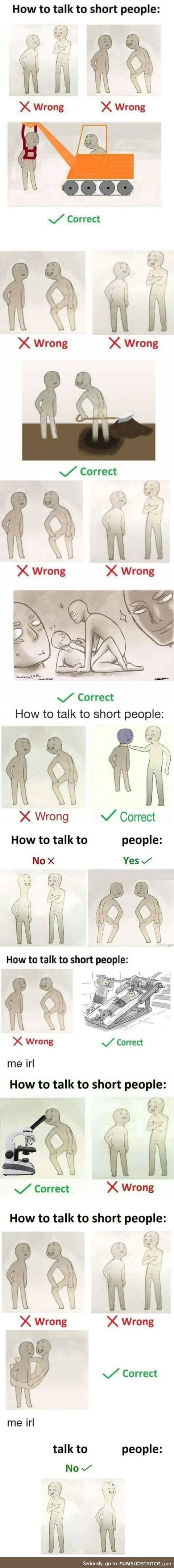 How to talk to small ppl comp