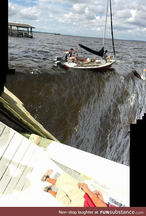 Camera malfunctioned as they motored away from the dock