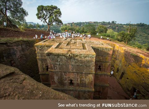 A 12th century church in Ethiopia literally hollowed out of a mountain