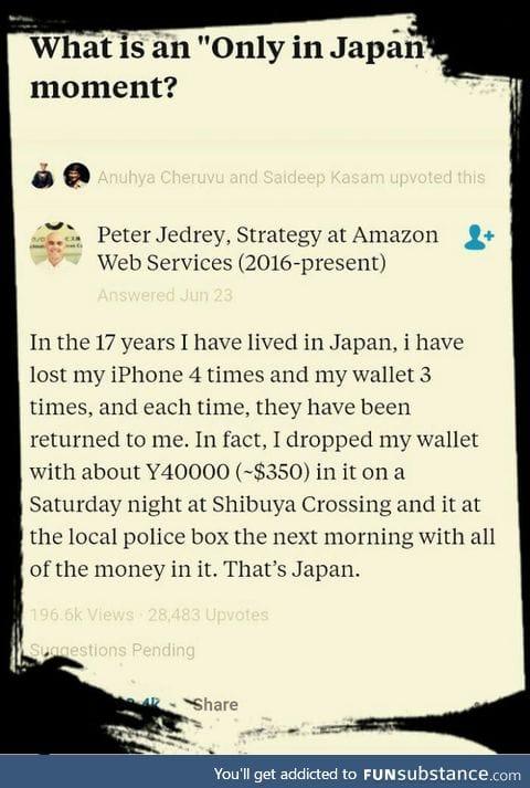 Japan has honest citizens