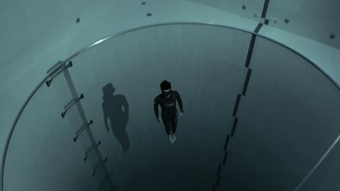 At the bottom of the deepest pool in the world (42m) with a single breath of air