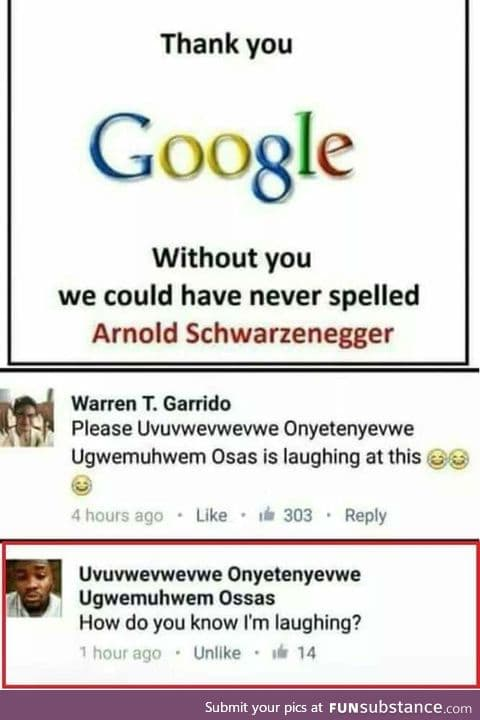 That unexpected comment ...