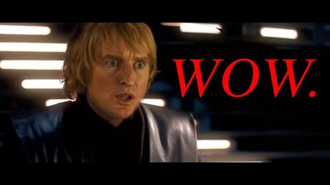 "Owen Wilson saying ""Wow"" with all the lightsaber sounds in Star Wars"