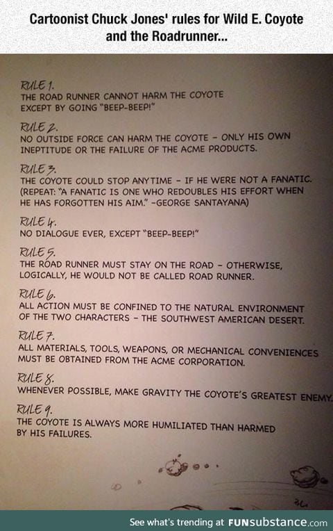 Original rules for wile e. Coyote