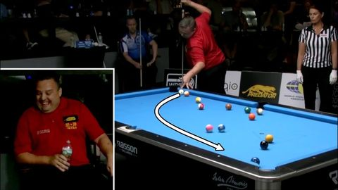 Have you ever seen a guy win a round of pool while pulling tricks. It's crazy!