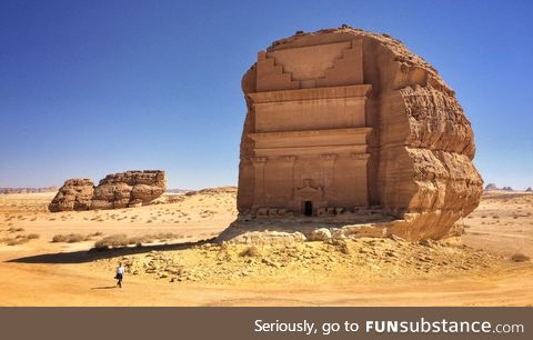 Tomb carved from a single rock in Saudi Arabia