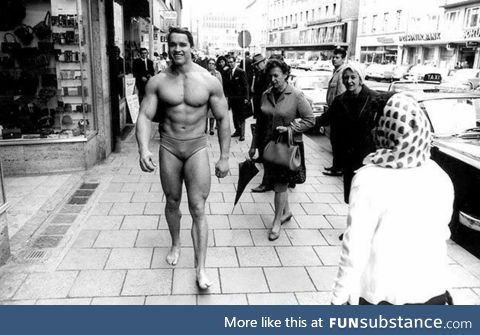 Arnold, at age 20 and youngest Mr. Universe winner ever, out promoting his gym