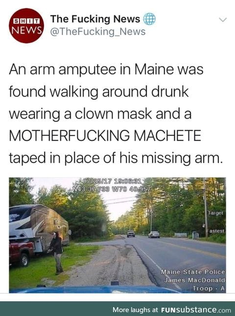 Arm amputee is loco
