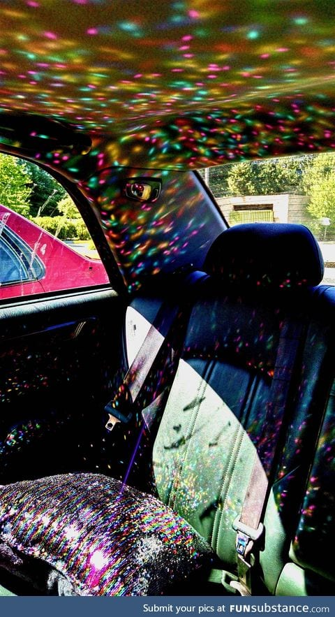 The best part about having an emergency sparkle pillow in your car is impromptu car raves