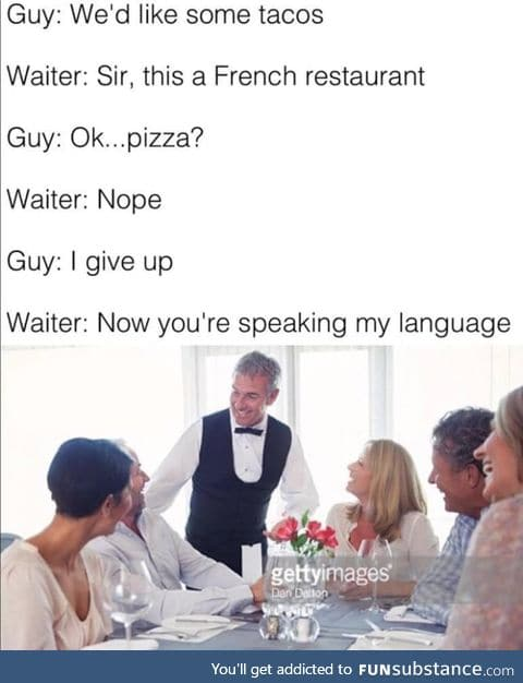 Eating at a French restaurant