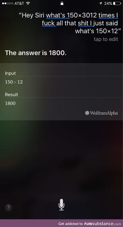 Siri is certified in understanding drunk math questions