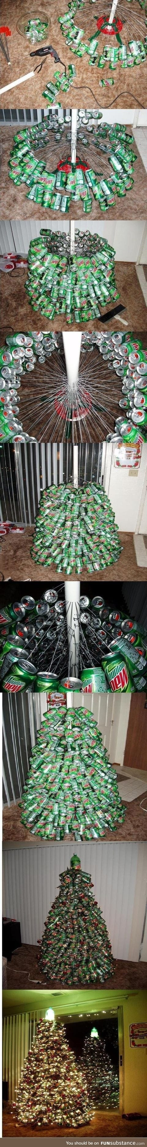 Christmas tree from cans