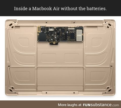 Inside a Macbook Air minus the batteries.