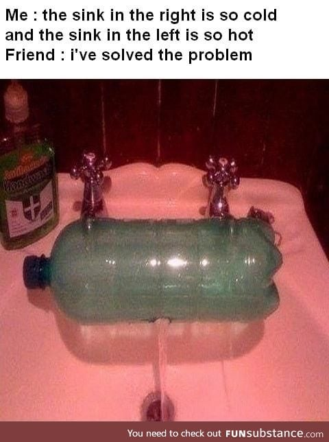 Engineer solves the hot/cold tap problem