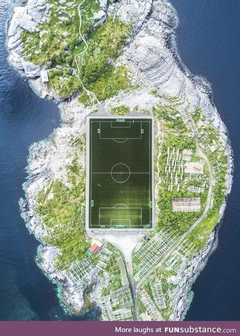 A lone football pitch in the Lofoten Islands, Norway