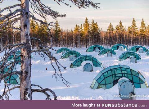 Glass igloos in Finland for watching the Northern Lights