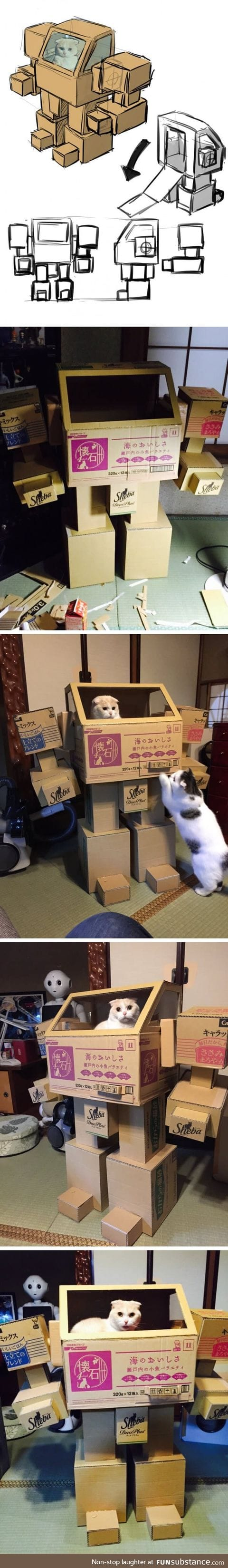 Pet owner built a battletech playhouse for cate