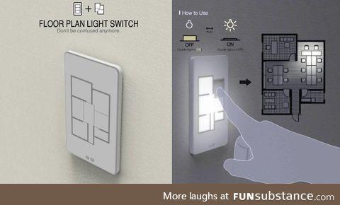 A floor plan light switch