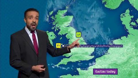 A weatherman pronouncing Llanfairpwllgwyngyllgogerychwyrndrobwllllantysiliogogogoch