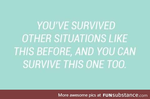 you have survived every single shit life throws at you for years and that's pretty big