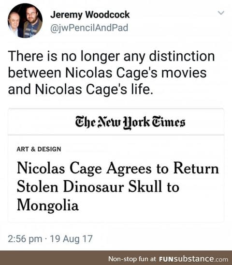 Indiana Cage and the stolen dino skull