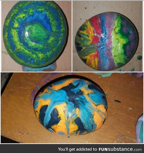 My son and I made these (melted crayon on rock)
