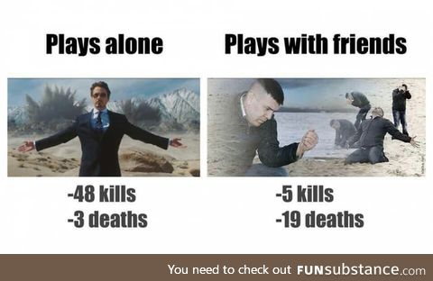 Playing alone vs playing with friends