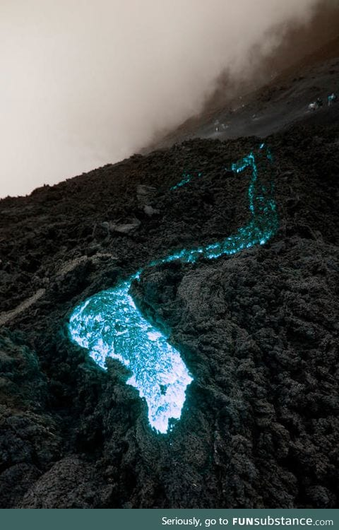 Blue Lava - this occurs due to flaming sulphuric gas on the surface of the lava