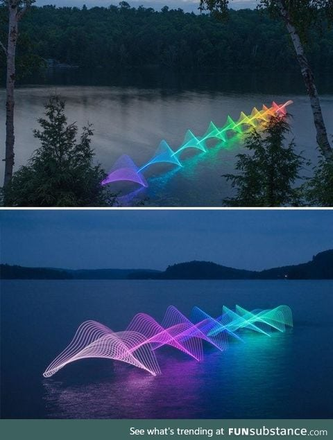 Canoers And Kayakers put LEDs on their oars in this long exposure photo