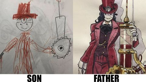 Dad creates sons drawings into cool anime characters