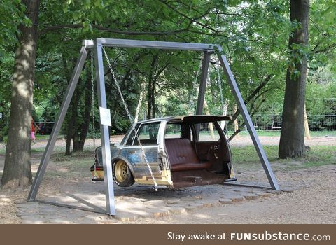 This is a swing for kids in Ukraine