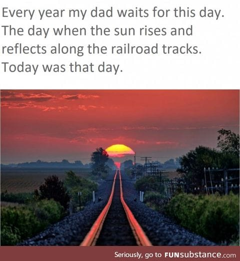 Sun rises and reflects along the railroad tracks every year