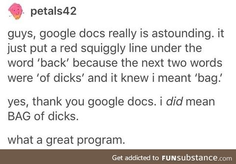 Thanks, google docs