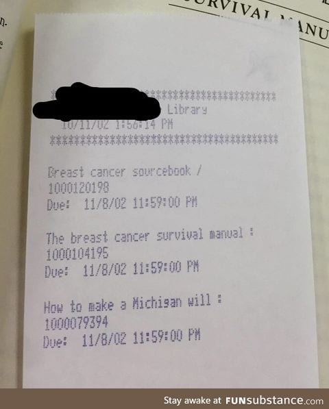 A short, sad story on a library book receipt