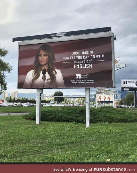 Actual billboard in Croatia for learning English