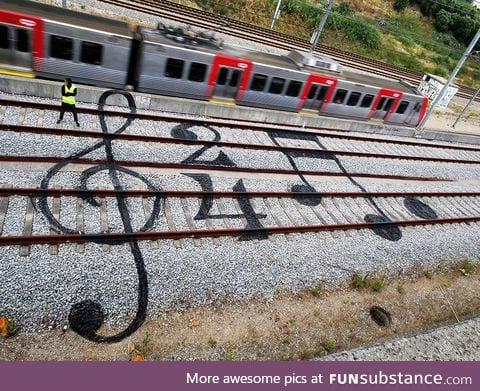Train track graffiti in Portugal