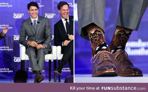 The Canadian president mocked for wearing Chewbacca socks at an international conference
