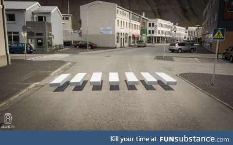A town in Iceland painted a 3-D crosswalk for drivers to notice it more