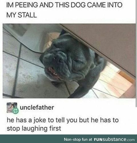 Dog has a joke to tell