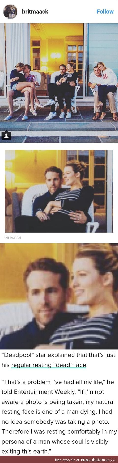 "Ryan Reynolds resting ""dead"" face"