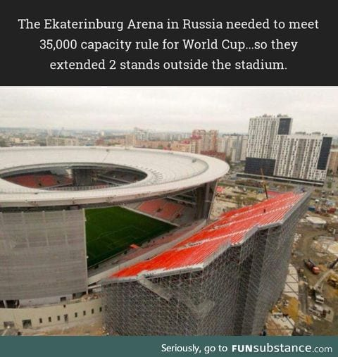The Ekaterinburg Arena in Russia extended 2 stands outside the stadium.