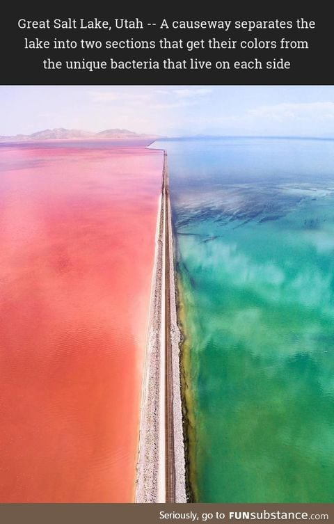 Great Salt Lake, Utah -- A causeway separates the lake into two sections