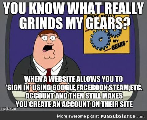 Seriously, why even give me the option if I'm going to have to create an account anyway?