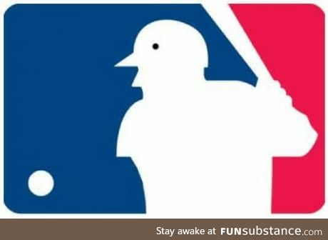 If you put a dot on the Major League Baseball logo, it looks like a bird with arms
