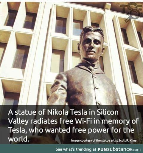 Statue of Tesla has free Wifi