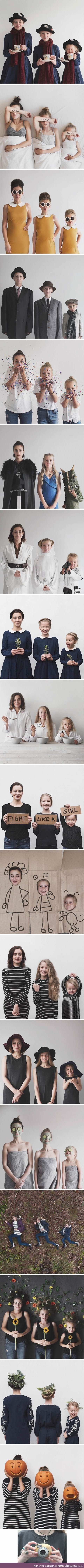Mother takes adorable photos with her two daughters in matching clothing