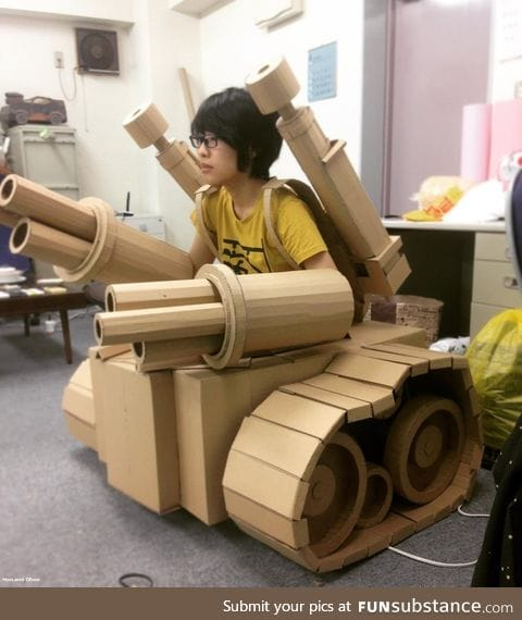 Personal tank made from cardboard