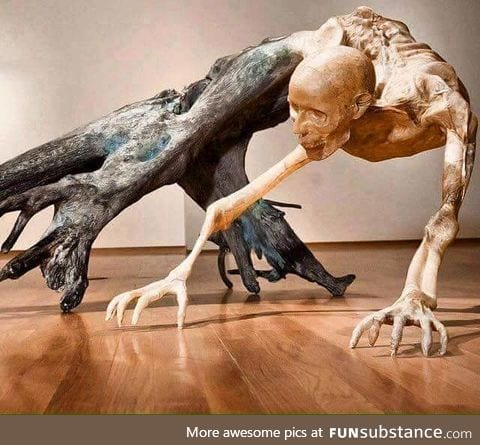 Driftwood statue by Javier Perez