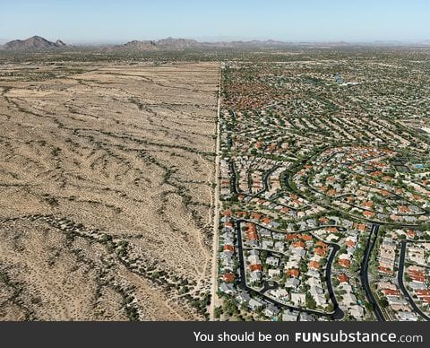 The boundary between Scottsdale, AZ and the Salt River Indian Reservation